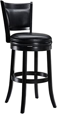 Ball Cast Jayden Wooden Swivel Bar Stool with Faux-Leather Upholstery, 29-Inch, Midnight Black