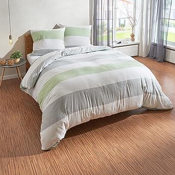 Traumschlaf Biber Bettwäsche Streifen Grün 200x200 Cm 2x 80x80 Cm