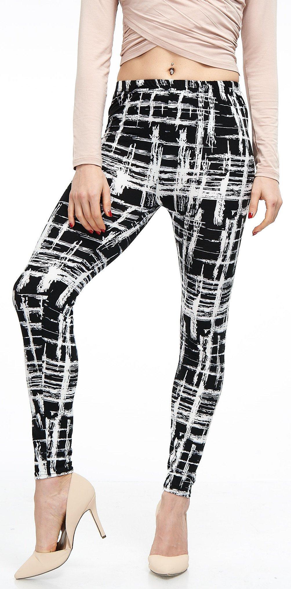LMB Lush Moda Extra Soft Leggings with Designs- Variety of Prints - 720F Black White Stripes B5 by LMB (Image #3)