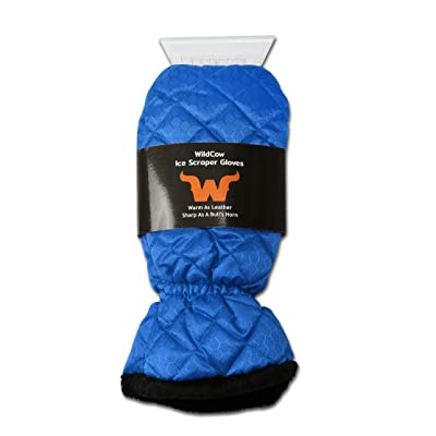 WildCow Premium Ice Scraper Mitt Glove for Car, Windshield Snow Scraper Mitten (Blue), Soft and Thick: Automotive