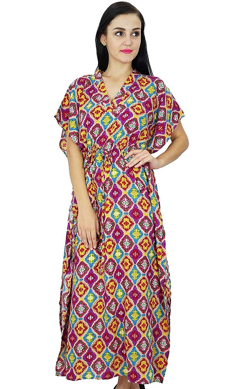 Bimba Frauen Böhmischen Kaftan Nachthemd Kleid Lang Rayon Maxi Kaftan