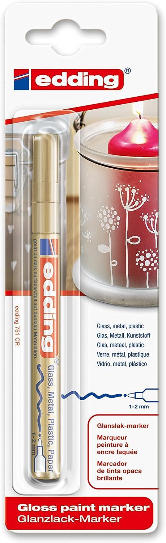 /Pennarello per l/'utilizzo su vetro metallo e plastica 1-2 mm argento /confezione singola pennarello con vernice lucida Edding 751