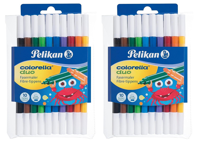 2 Etuis á 10 Fasermaler Colorella Duo Pelikan