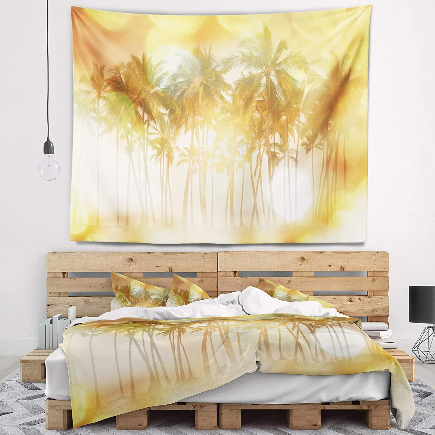 Designart Tap12507 60 50 Palms In Serene Tropical Beach Landscape Blanket Décor Art For Home And Office Wall Tapestry Large X 50 In In 60 In Home Kitchen Home Décor