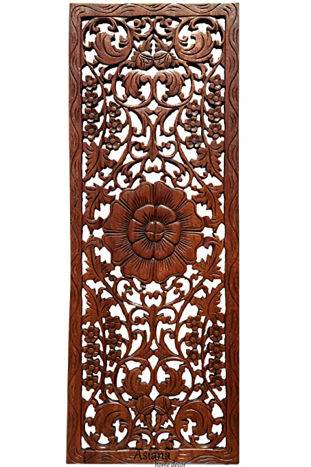 Amazon.com: Asiana Home Decor Floral Wood Carved Wall Panel ...