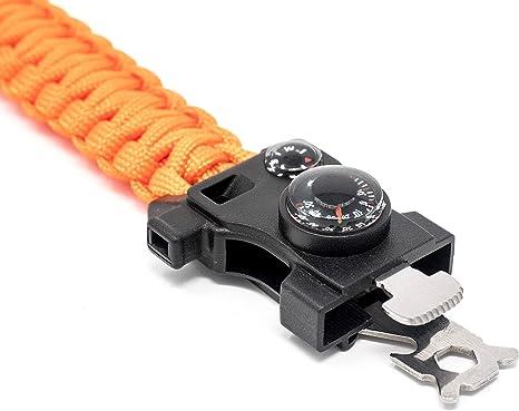 pierre thermom/ètre feu outil multifonction sifflet boussole couteau steinbock7//® Survival Bracelet paracord 16/en 1