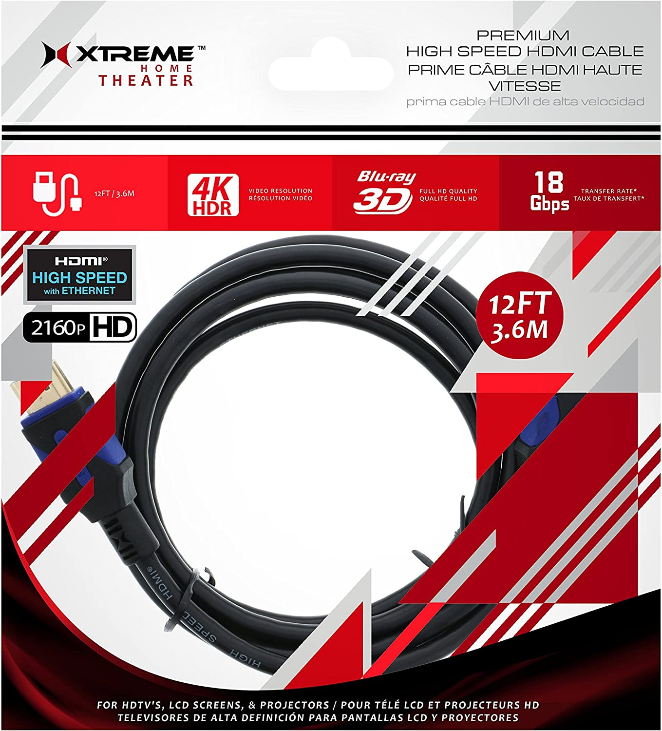 12 FT Xtreme Premium High Speed HDMI Cables 4K HDR 2160p HD 3FT,6FT,12FT,25FT OR 50 FT