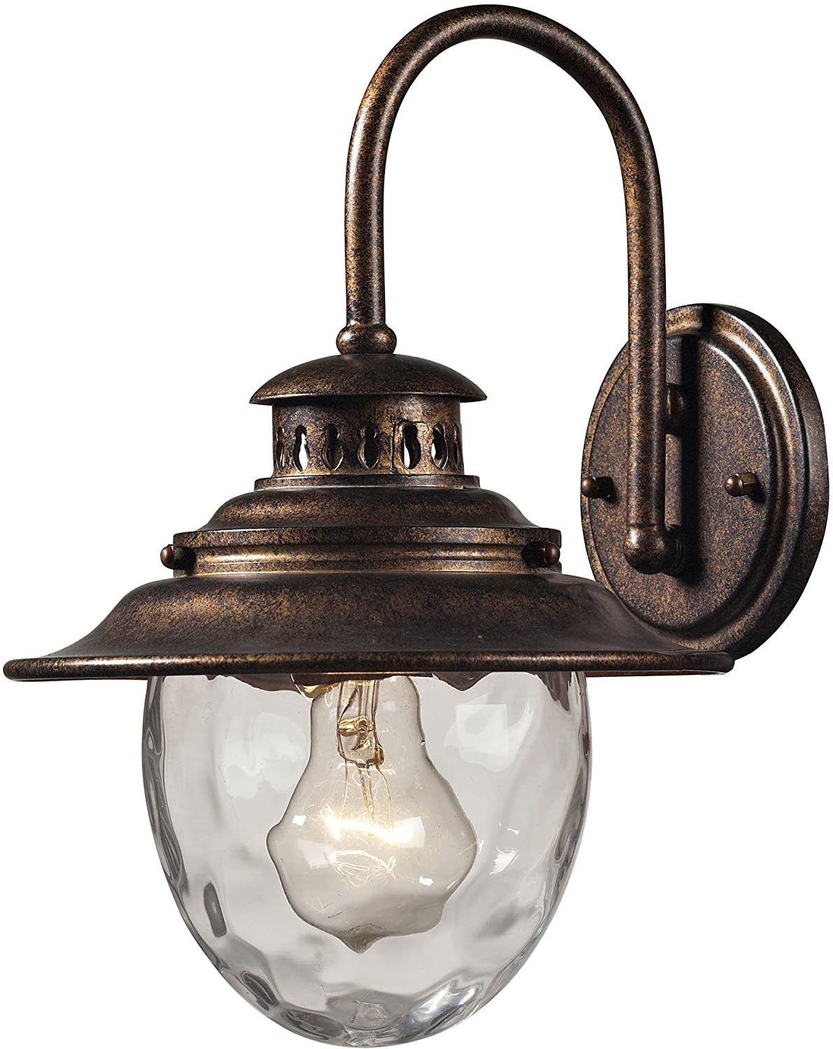 elk 8 by 13inch searsport 1light outdoor wall sconce with water glass diffuser weathered charcoal finish wall porch lights amazoncom
