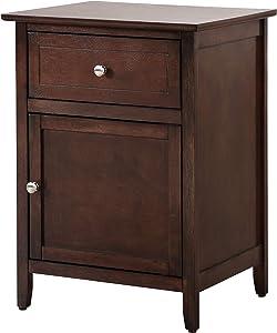 Glory Furniture 1 Drawer /1 Door Nightstand, Cappuccino