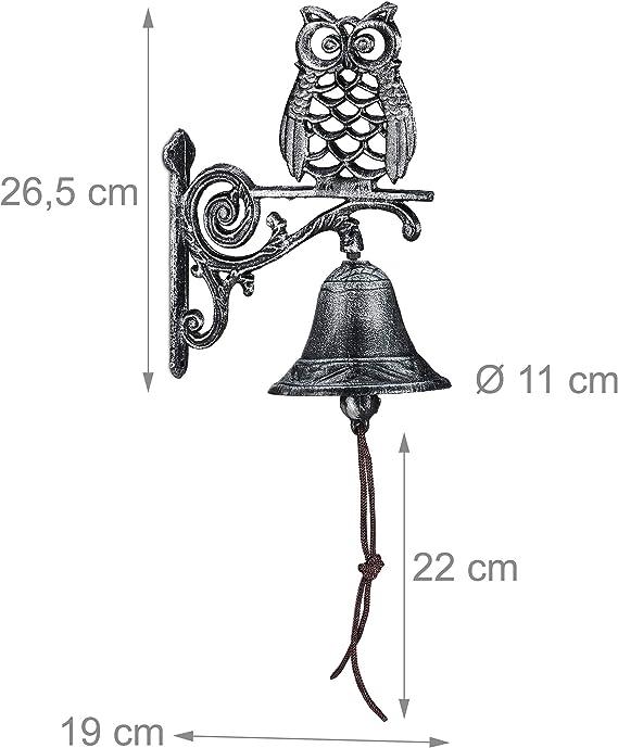 Estilo r/ústico Antiguo con cord/ón Resistente a la Intemperie Color Blanco Relaxdays T/ürglocke Timbre para Puerta de Hierro Fundido para decoraci/ón de jard/ín dise/ño de b/úho