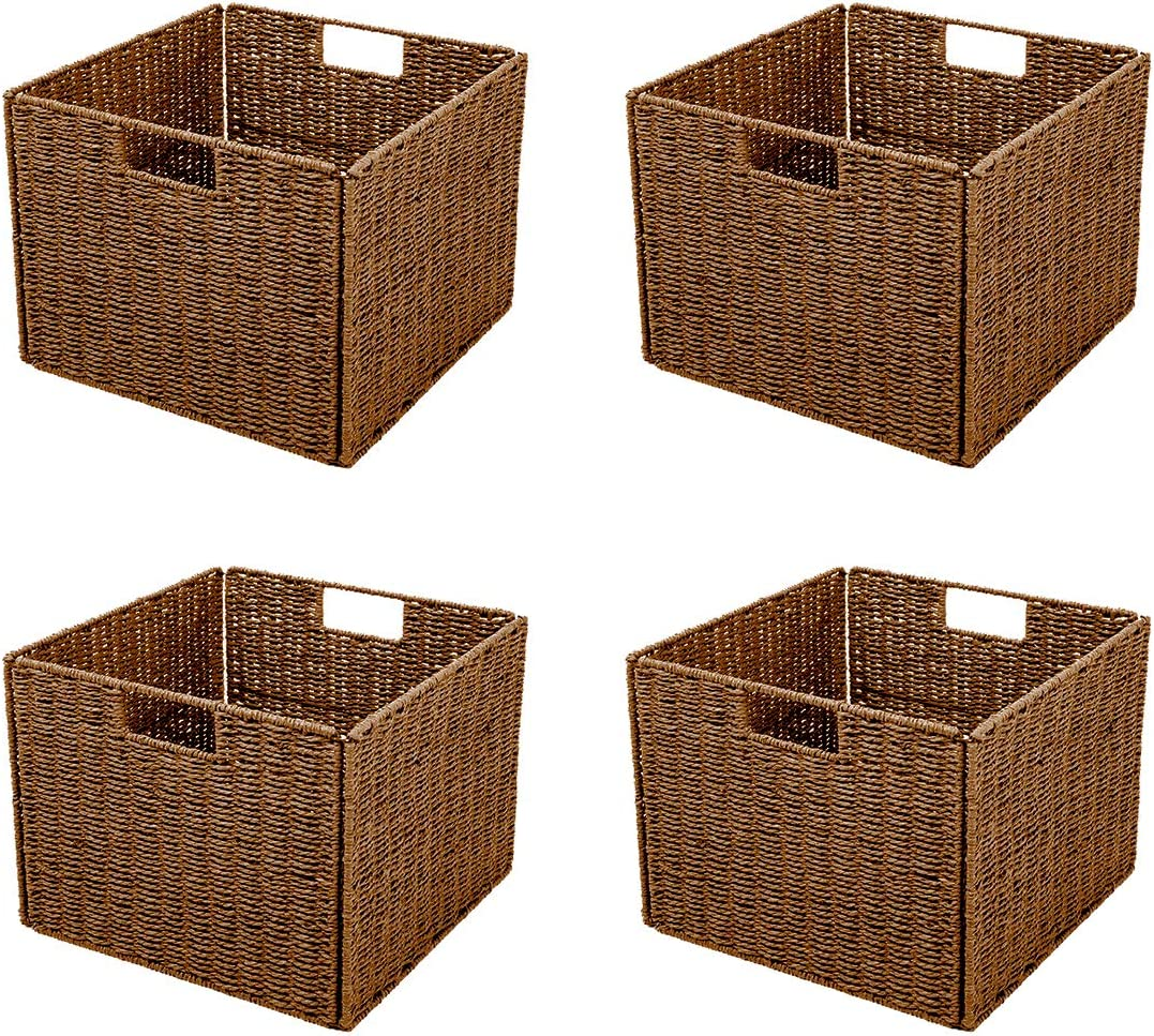 Trademark Innovations Foldable Storage Basket with Iron Wire Frame (Set of 4)