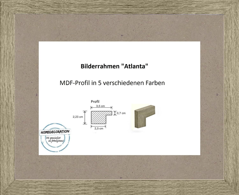 Atlanta MDF Bilderrahmen 101 x 153 cm Größen Auswahl 153 x 101 cm hier  Raucheiche mit Acrylglas Antireflex 2 mm