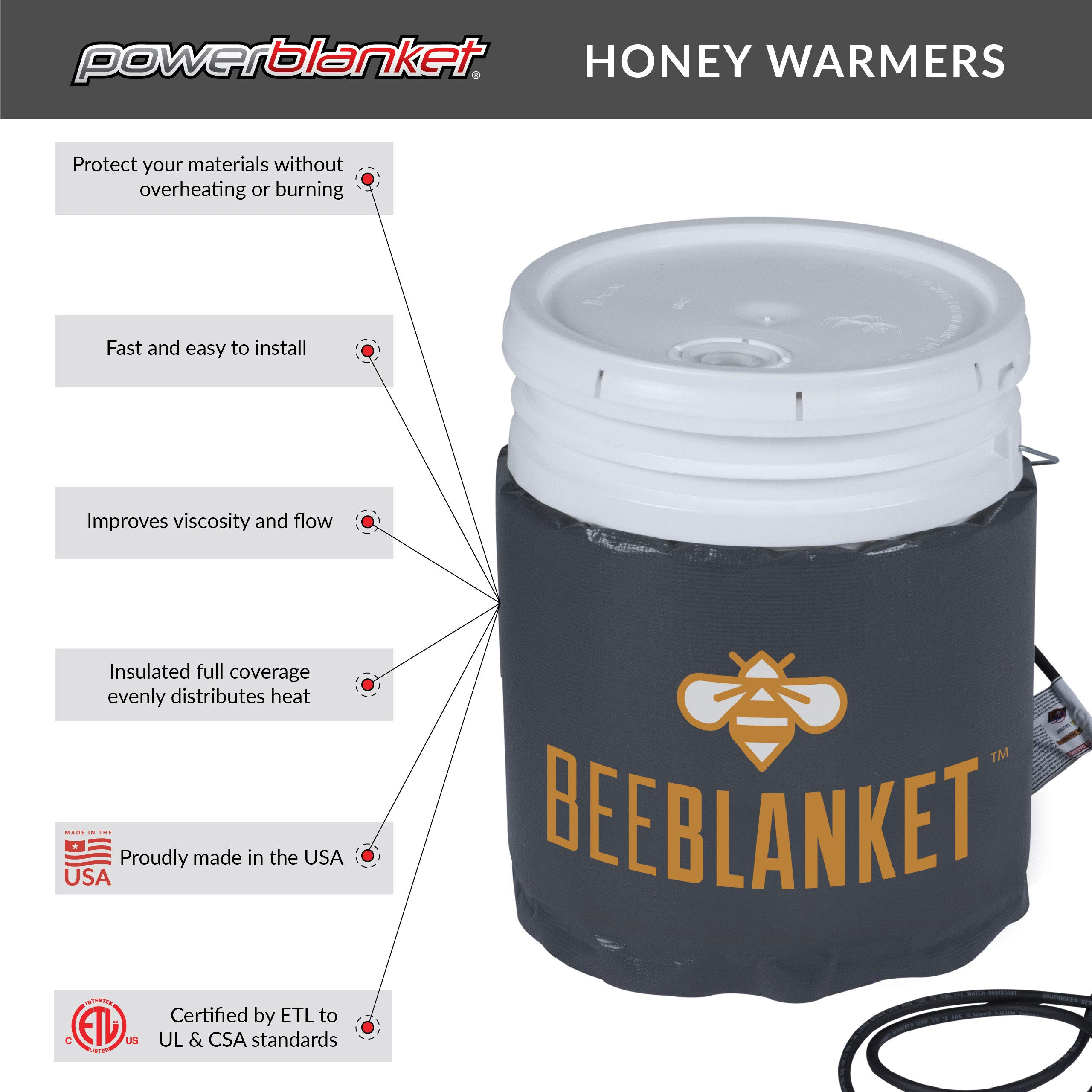 Powerblanket BB05PRO Bee Blanket 5-gallon Bucket Honey Warming Blanket, Ideal for warming solid or crystallized honey, Adjustable Controller, Max Temp 145°F