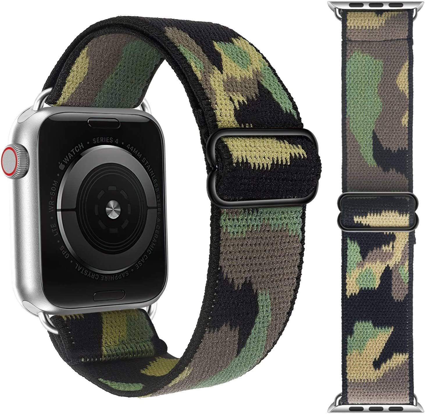 Adjustable Elastic Solo Loop Bands Compatible with Apple Watch 42mm 44mm Stretchy Sport Soft Strap Women Men Replacement Wristband for iWatch Series 6 SE 5 4 3 2 1 Camouflage