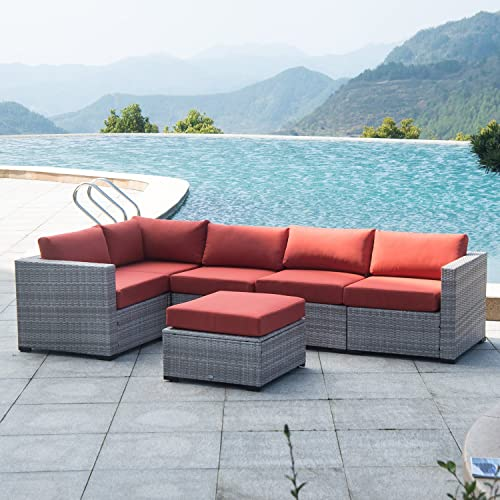 Auro Outdoor Furniture Sectional Sofa Conversation Set 6-Piece Set All-Weather Gray Wicker Seating