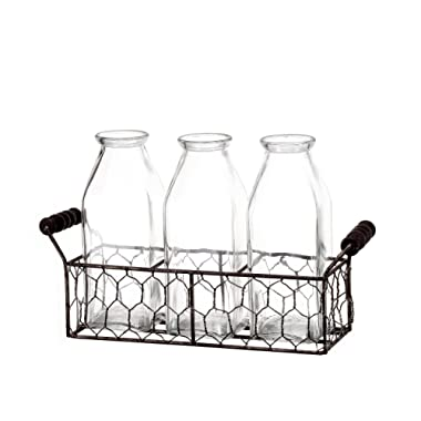 V-More Rustic Glass Milk Bottle Flower Bud Vase with Chicken Wire Basket 6.5-inch Tall for Home Decor Wedding Party and Celebration (Set of 1)