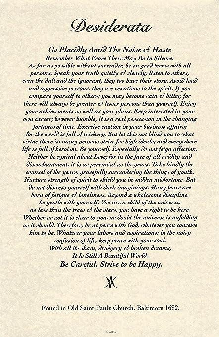 11 x 17 Poster Desiderata poema por Max Ehrmann. 1692 diseño de ...