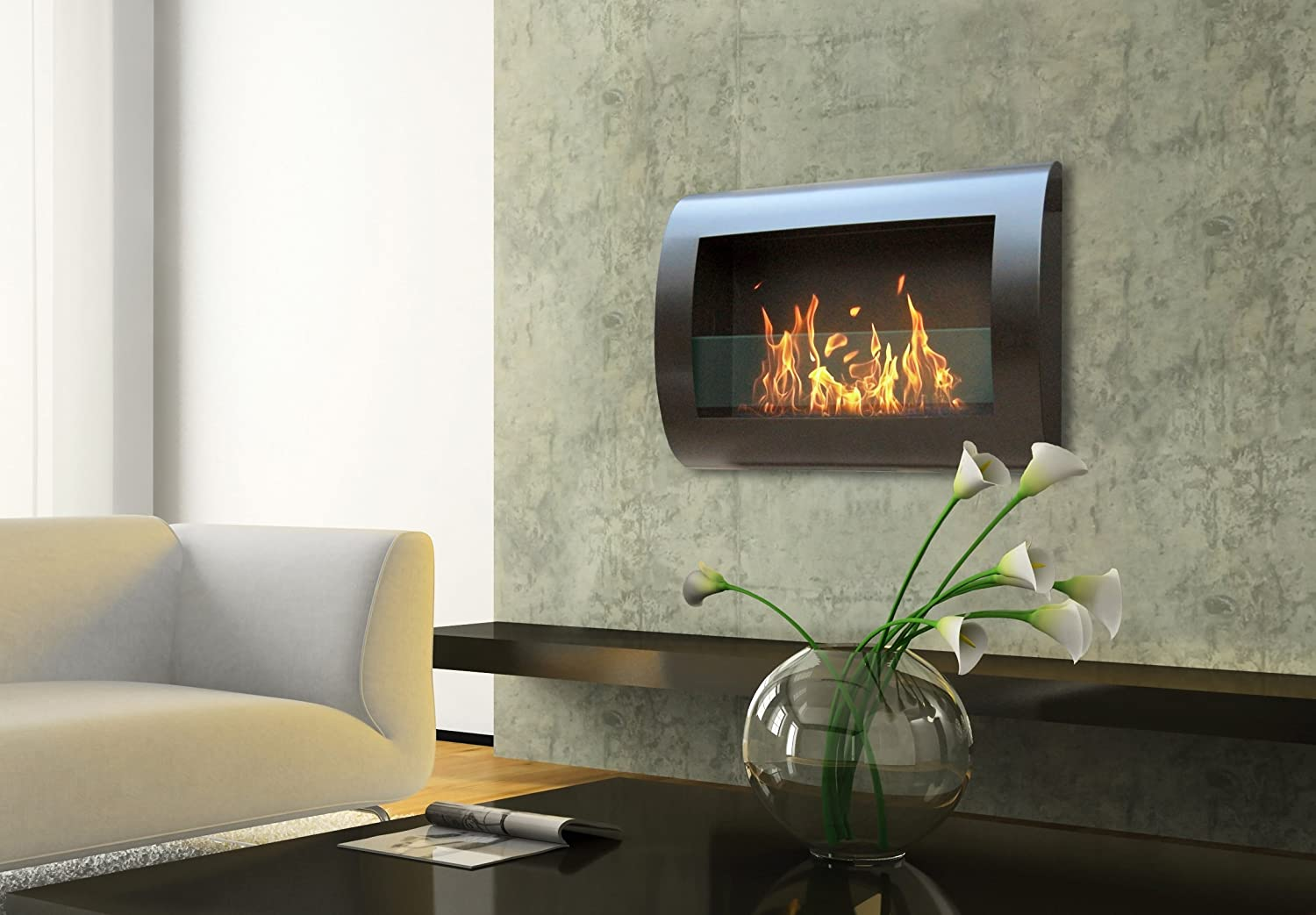 Natural gas wall mount fireplaces - Amazon Com Anywhere Fireplace Chelsea Model In Black Wall Mount Bio Ethanol Fireplace Home Kitchen