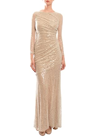 2bac8e9f4a2 Carmen Marc Valvo Long Sleeve Sequined Mermaid Ruched Evening Gown Dress  Nude