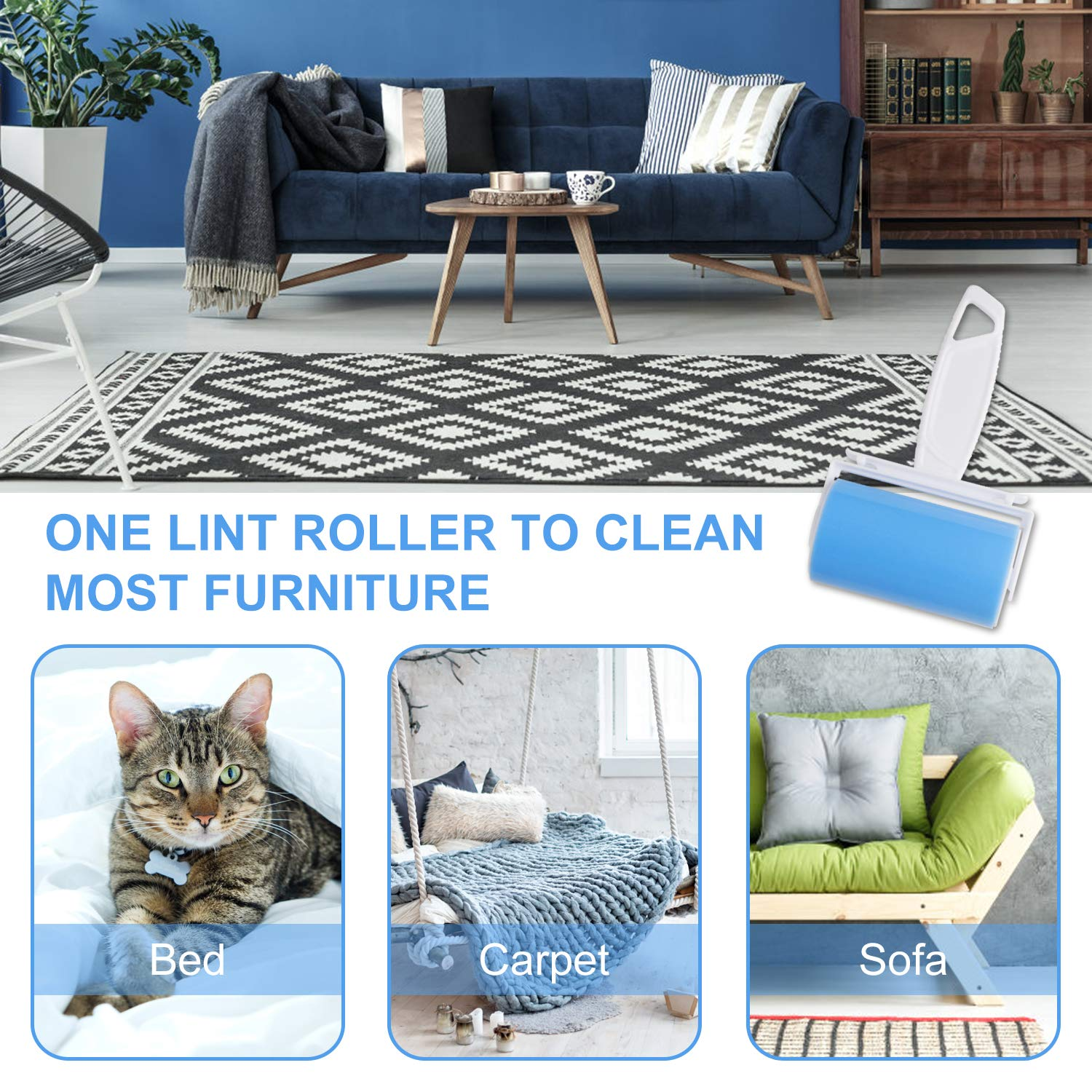 Lint Remover Roller, WOWGO 3Pack Sticky Lint Roller, Fluff & Pet Hair Remover, Cloth Cleaning, Washable Reusable Lint Roller for Clothes, , Car Seats, Medium/Mini Size, Blue