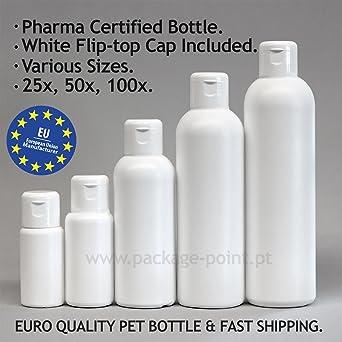 Botellas de plástico en color blanco, de x25,x50,