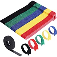 Cable Ties Reusable - H HOME-MART 50 Pack 5 Color Cable Straps Multi-Purpose Tie Wraps Fastening Straps Used for…