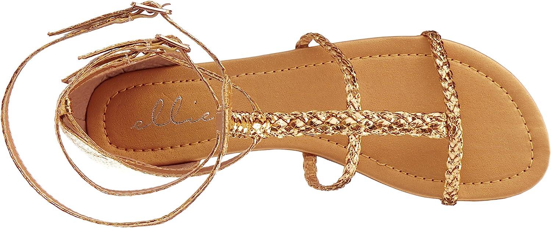 Ellie Shoes 0 Inch Childrens Gladiator Flat Sandal Black//Gold;XL