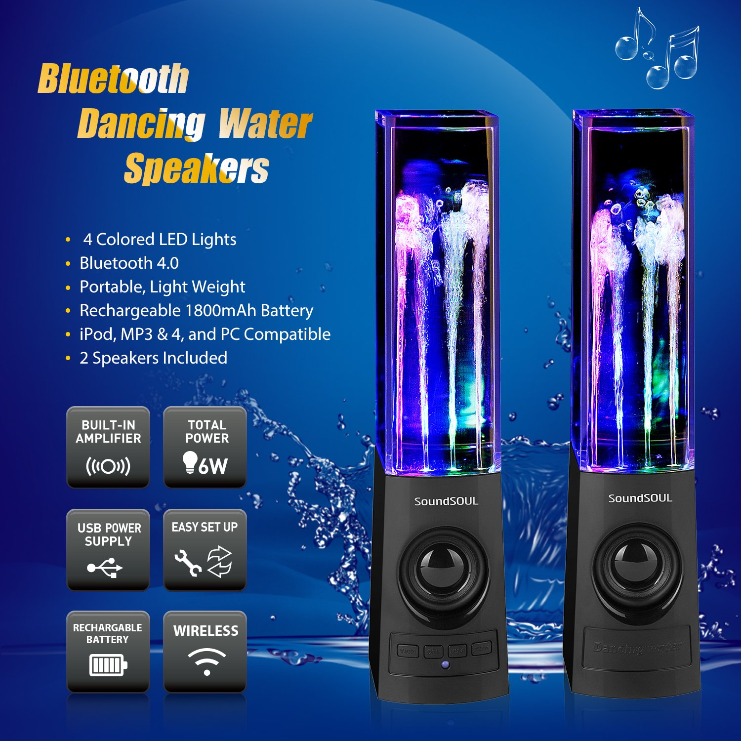 bluetooth speakers with lights and water. amazon.com: soundsoul bluetooth dancing water speakers led wireless fountain (bluetooth4.0, 4 colored lights, dual 3w speakers, with lights and o