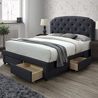 DG Casa Argo Tufted Upholstered Panel Bed Frame with Storage Drawers and Nailhead Trim Headboard, King Size in Charcoal Linen Style Fabric