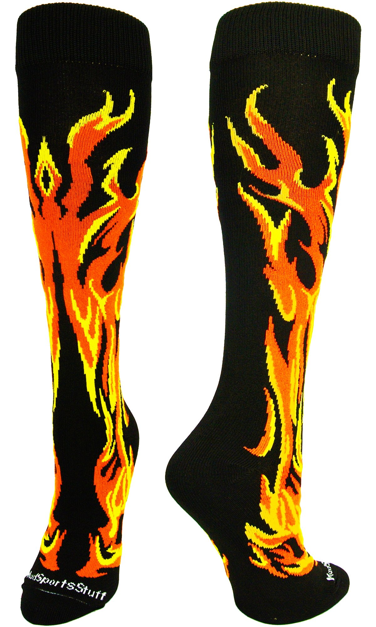 MadSportsStuff Flame Socks Athletic Over the Calf Socks (Black/Orange/Gold, Small)