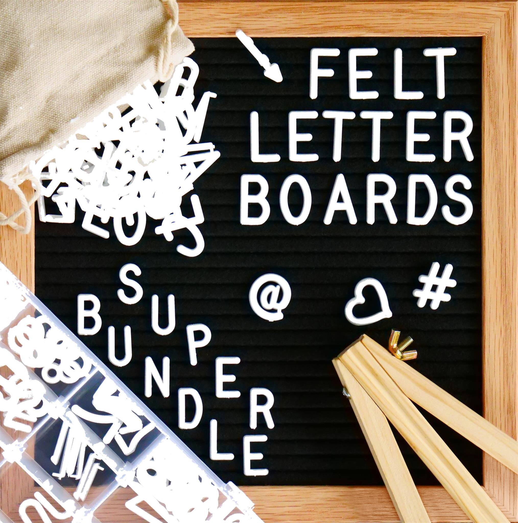"Felt Letter Board, SPECIAL GIFT BUNDLE - Black (10'' x 10'') INCLUDES:690+ Letters/Numbers/Characters (340 ¾""+ 350 1"")+ SORTING TRAY+ Letter Pouch+ Letterboard Stand + Gift Box! Oak Frame - 3 Pcs by Little Hippo"