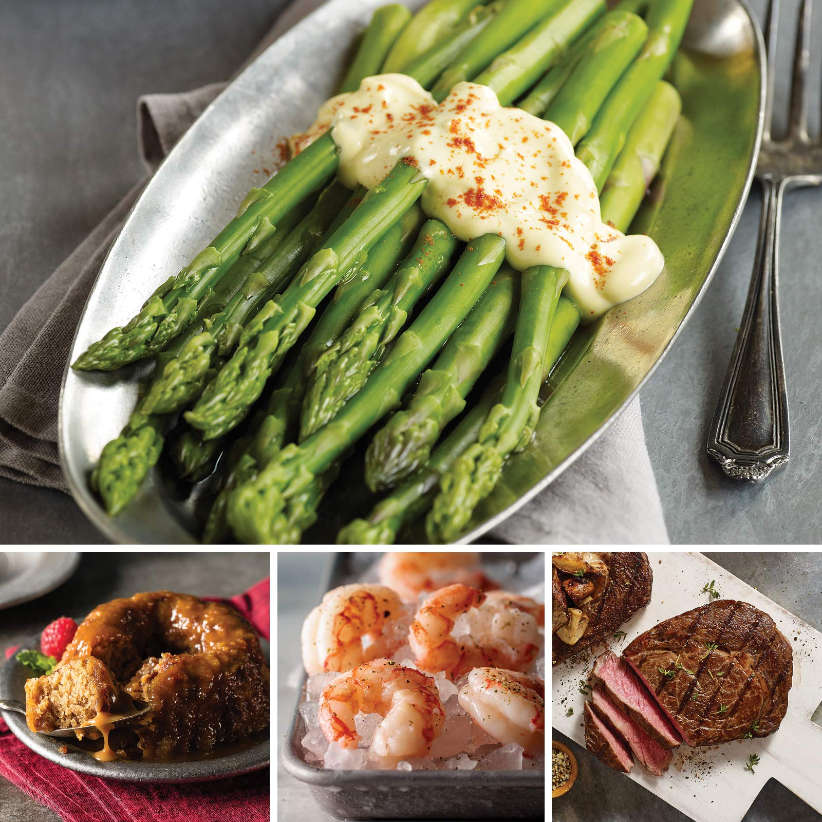 Omaha Steaks Ribeye and Red Shrimp Holiday Surf and Turf Combo (9-Piece with Ribeyes, Wild Argentinian Red Shrimp, Asparagus Spears in Hollandaise Sauce, and Individual Sticky Toffee Pudding Cakes)