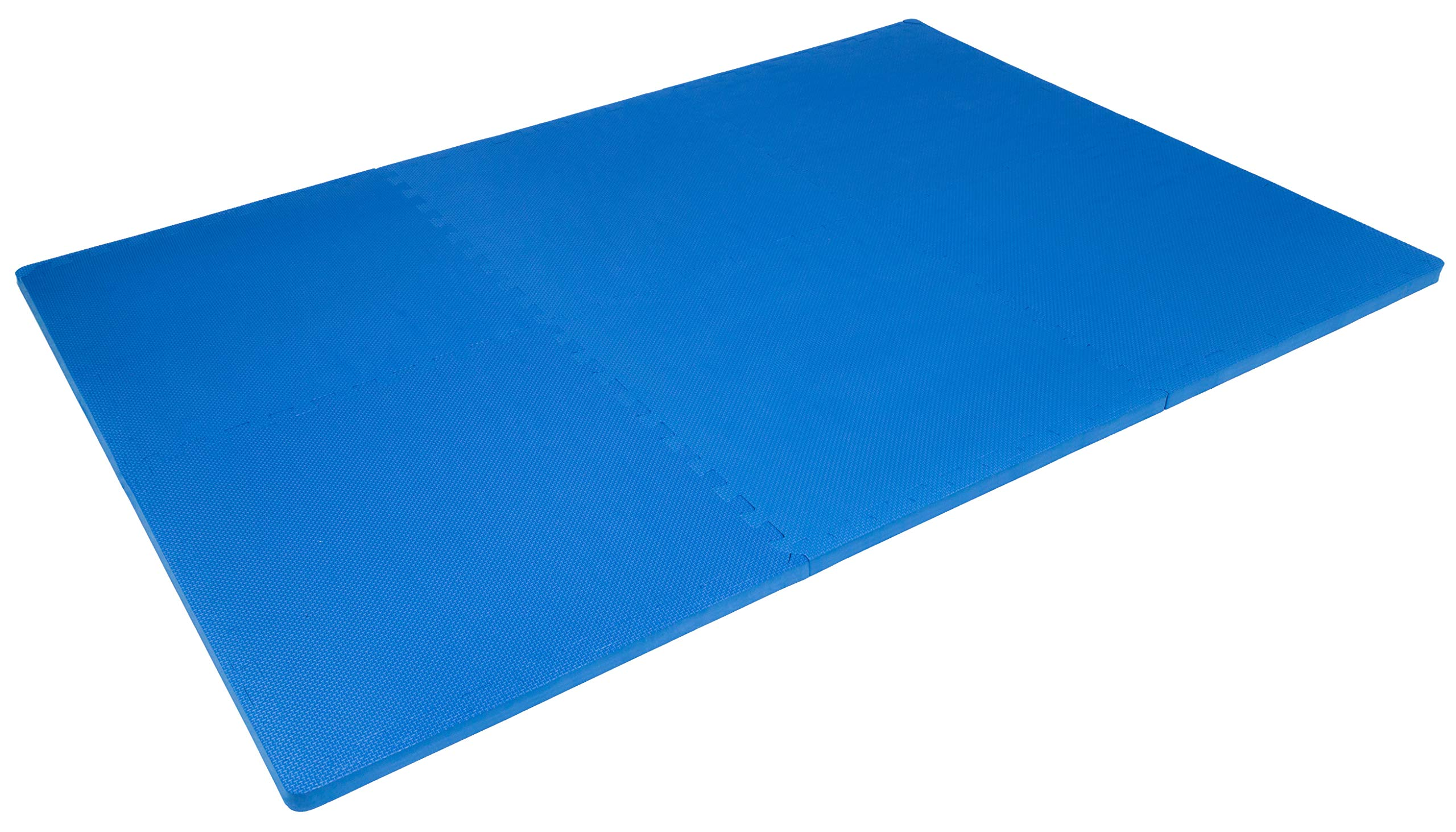 """Prosource Fit Extra Thick Puzzle Exercise Mat 1"""", EVA Foam Interlocking Tiles for Protective, Cushioned Workout Flooring for Home and Gym Equipment, Blue by ProsourceFit (Image #4)"""
