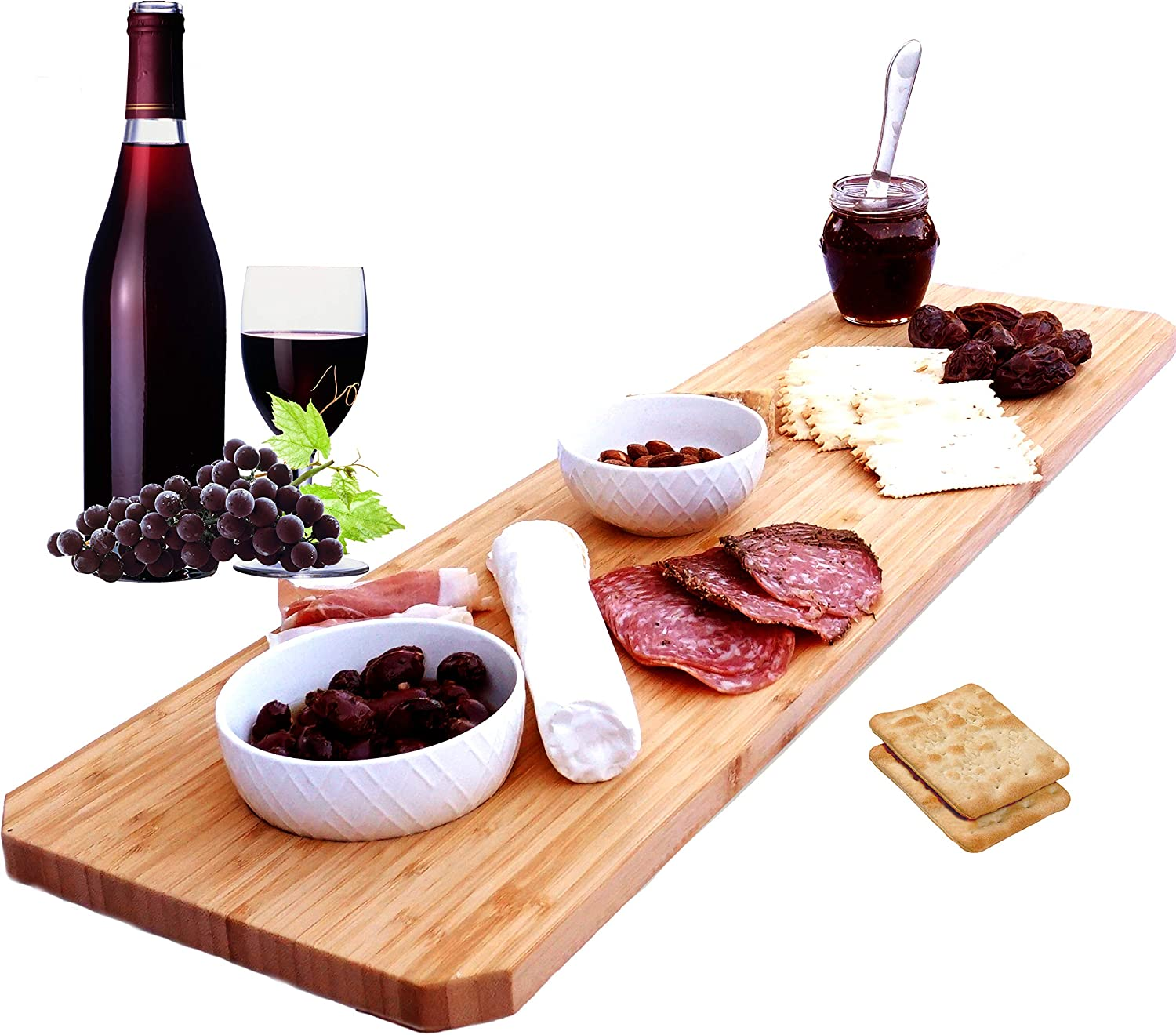 Bamboo Home Life Extra Large Cheese Board Platter - 30 Inch Long Charcuterie Board Includes Hole for Dips or to Hang on Wall - Great for Meats, Cheeses, Appetizers At Parties, Gifts - 30 X 8 Inch