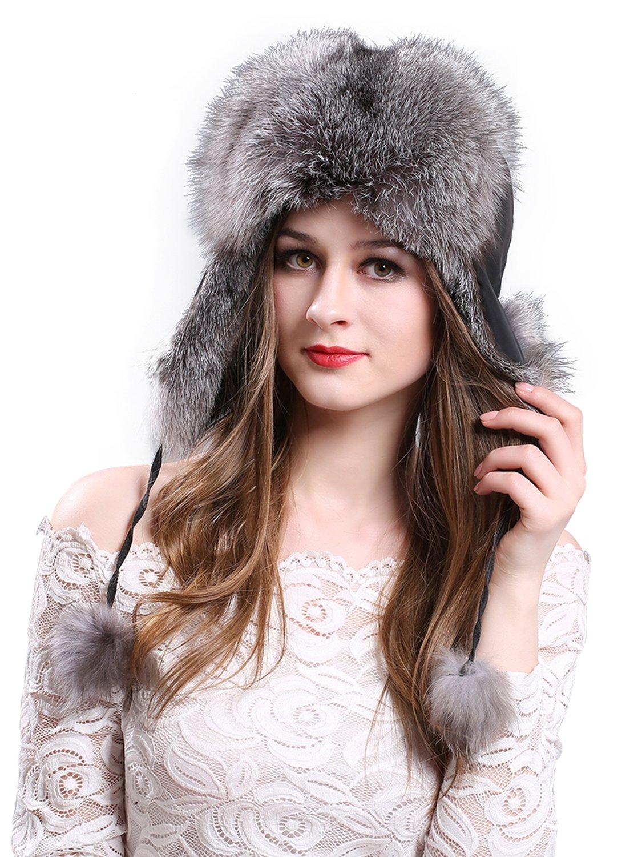 LITHER Women's Winter Trapper Hat Genuine Fox Raccoon Fur Russian Ushanka Hat  by LITHER