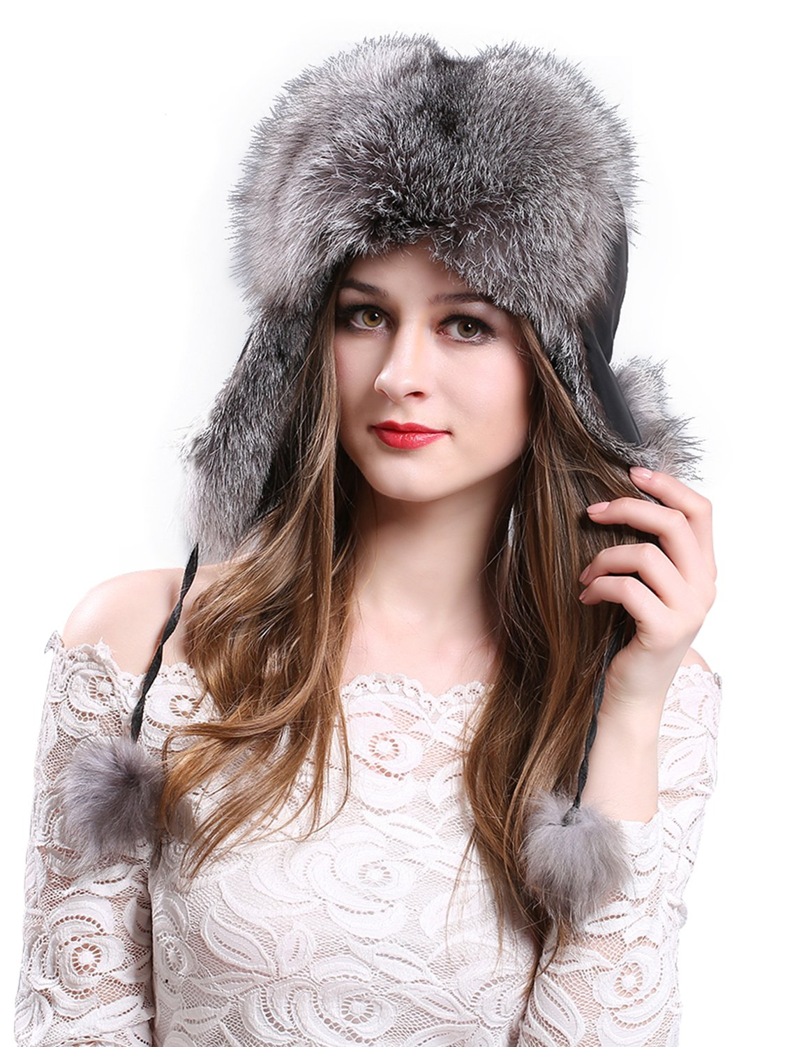 LITHER Women's Winter Trapper Hat Genuine Fox Raccoon Fur Russian Ushanka Hat