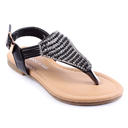 f6bb15862932 Cute Ankle Strappy Buckle Girls Rhinestone Gladiators Kids Sandals Youth  Summer Flats Shoes New Without Box (1