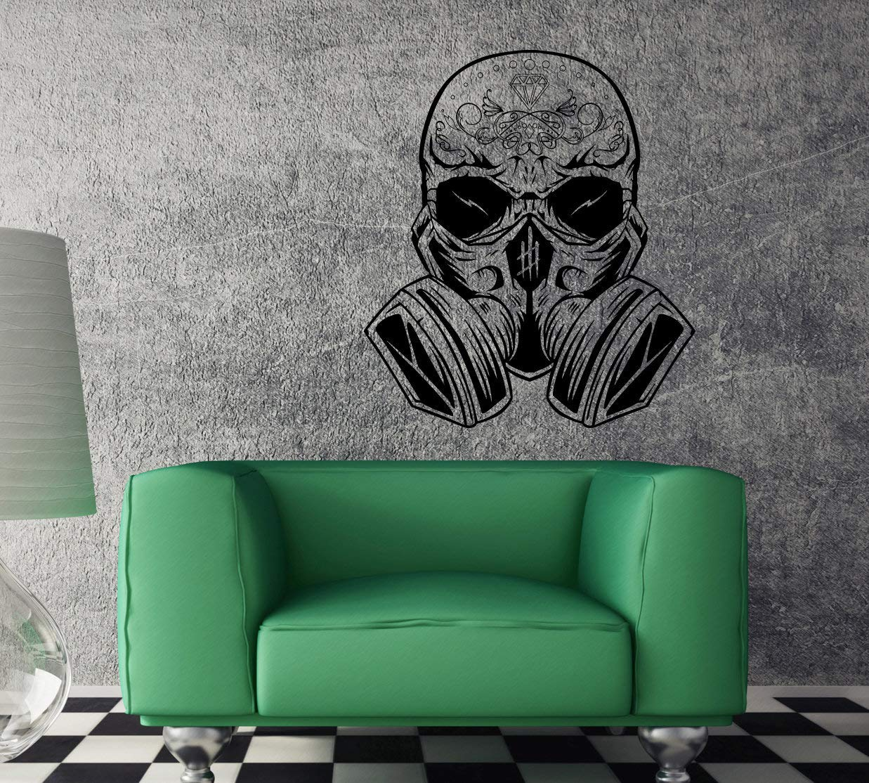 Wall Stickers Decal for Living Room Hippie Skull with Gas Mask Unique Decal Peel and Stick Decorative Self Adhesive Christmas Decoration for Home Nursery 29.5 Inch