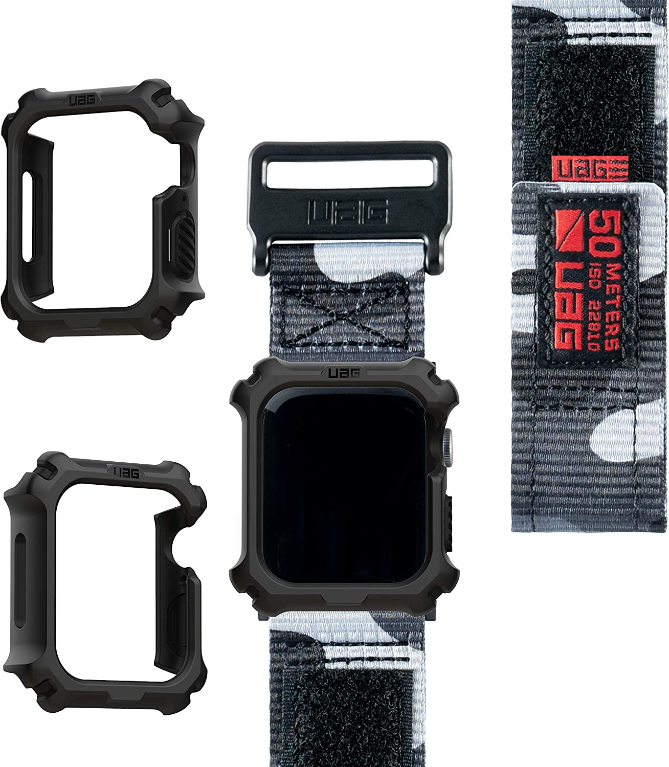 UAG Apple Watch Band 44mm 42mm, iWatch Series 6/5/4/Watch SE Replacement Strap, Active Midnight Camo + Apple Watch Case 44mm, iWatch Series 6/5/4/Watch SE Protective Bumper Case, Black/Black