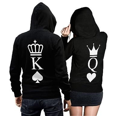 King Queen Pullover Pärchen Set - 2 Hoodies für Paare - Couple-Pullover -  Geschenk 6dc1207e37