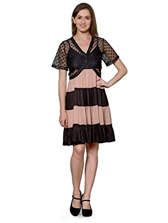 3dfd5b9acd9 PATRORNA Women s Flared Cocktail Midi Dresses with Black Net Shrug in Black  Peach (Size S