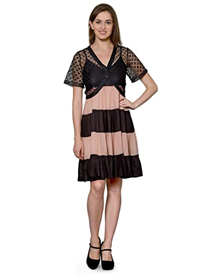 af728bc725 Patrorna Women s Lace Trim Midi Length Nighty Nightdress with Net ShrugIn  Black Peach(Size XS