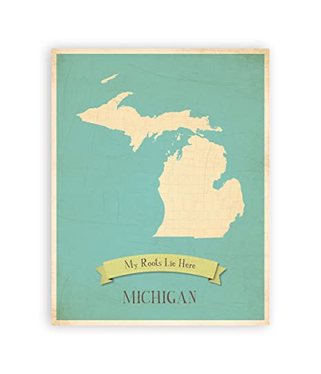 Nursery Decor, Michigan State Vintage Map, Michigan Personalized Wall Map  11x14, Kid\'s Michigan Map Wall Art, Children\'s Michigan Vintage State Map,  ...