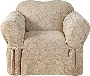 Surefit Home Décor Scroll Damask Box Cushion Chair One Piece Slipcover, Relaxed Fit, Cotton/Polyester, Machine Washable, Champagne