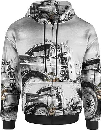 Motorcycle Zip Up Hoodie Throttle Out Hooded Sweatshirt for Men