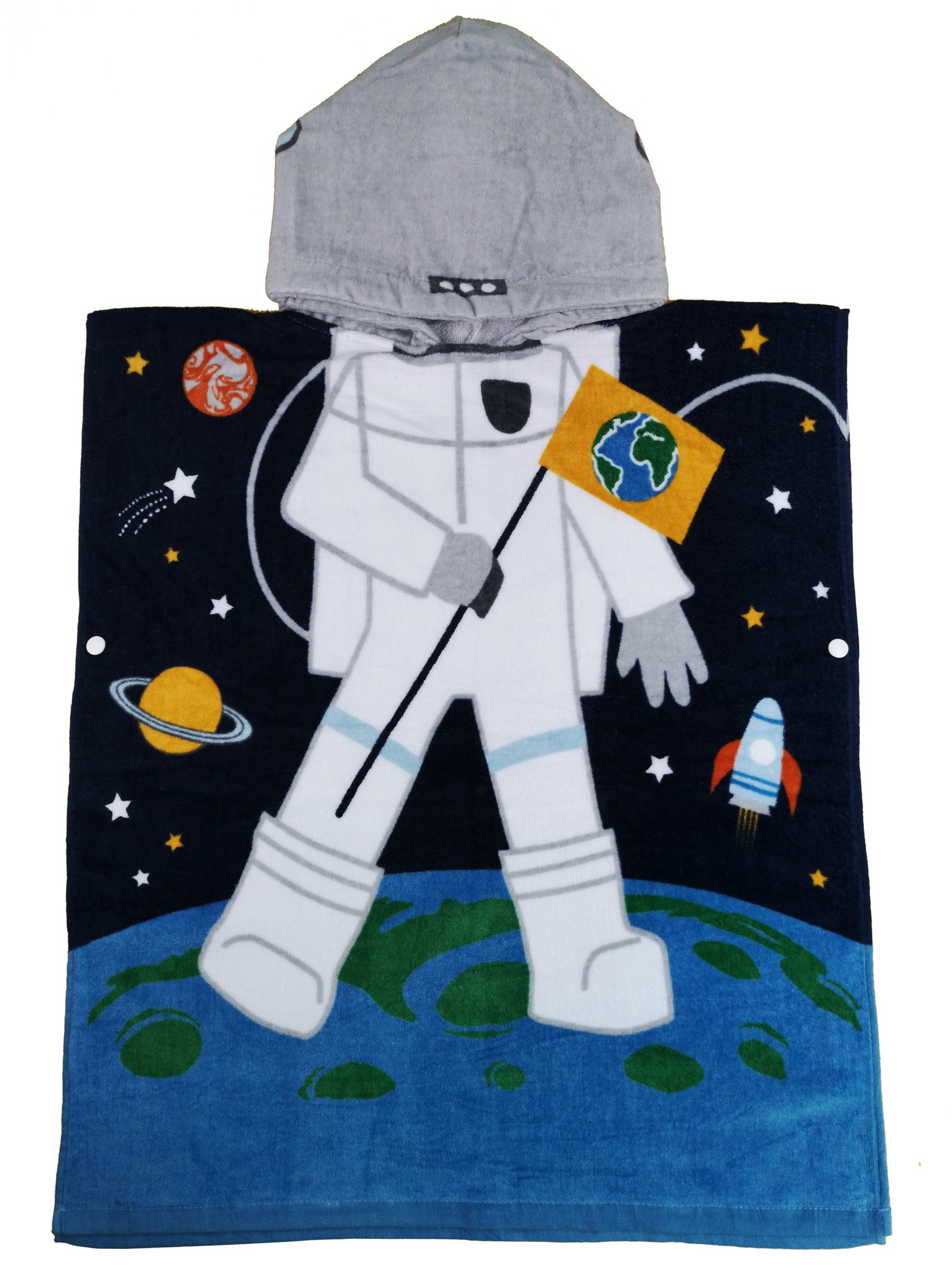Athaelay Cotton Beach Towel For Age 2-7 Years Boy Toddlers and Children, Multi-use for Bath/Shower/Pool/Swim, Kids Hooded Poncho Bathrobe, Astronaut Theme