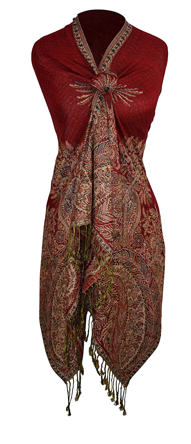 Vintage Scarves- New in the 1920s to 1960s Styles  Vintage Persian Paisley Printed Solid Pashmina Shawl Scarf  AT vintagedancer.com