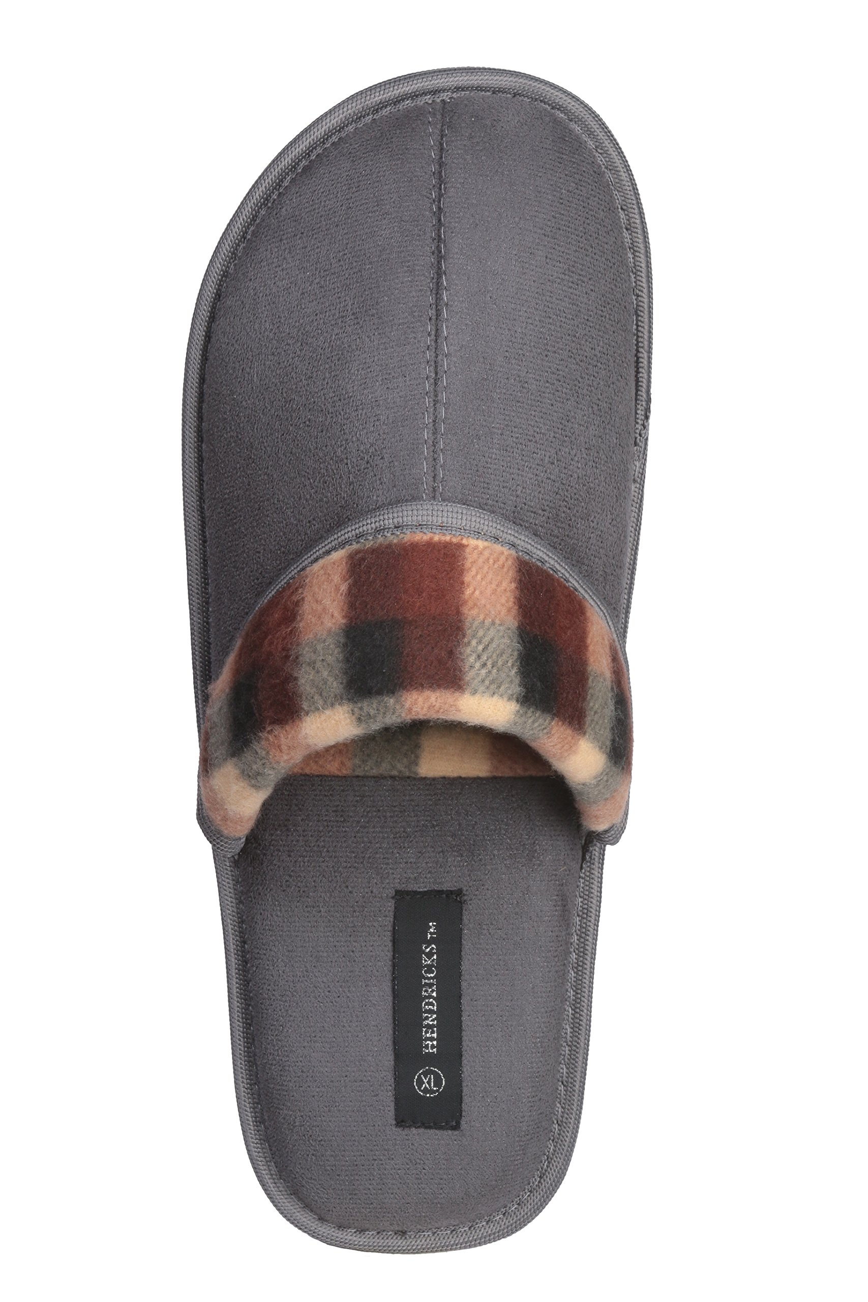 Roxoni Men's Faux Suede Scuff with Plaid Trim Slipper Classic Style with Ultra Soft Comfort Fabric by Roxoni (Image #3)