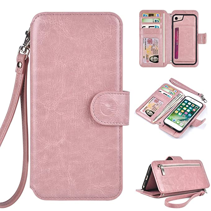 online store d9ff4 a0ed8 Humble Wallet Case Clutch Compatible with iPhone 8 7 6 - Rose Gold Wristlet  Case Boutique Quality Vegan Leather Pink - with Card Holder Clutch Purse