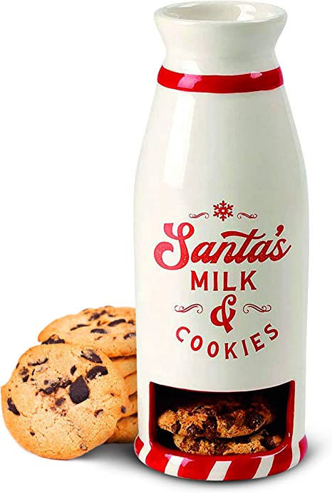Amazon Com Cookie Mug With Pocket For Serving Santa A Snack S Milk And Cookies Holder Traditional Way To Thank This Christmas Season Kitchen